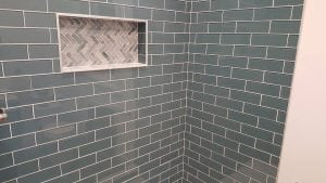 bathroom dark tile